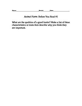 Animal Farm warm Up Questions