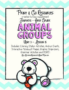 Animal Groups - Journeys First Grade Print and Go