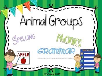 Animal Groups {spelling, grammar, and phonics practice}