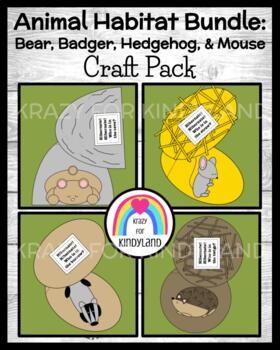 Animal Hibernation / Habitat Craft Pack: Bear, Badger, Hed