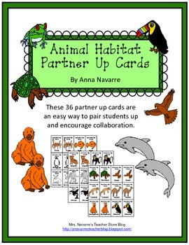 Animal Habitat Partner Up Cards