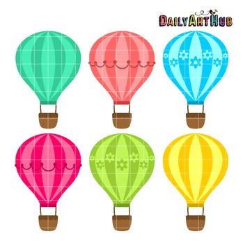 Hot Air Balloons Clip Art - Great for Art Class Projects!
