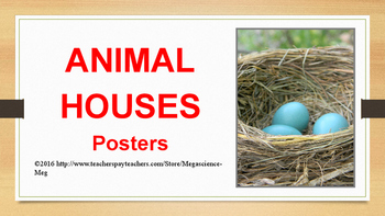 Animal Homes Posters- Emergent Reader