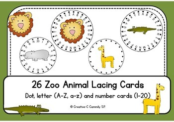 Animal Lacing Cards - dots, letters, numbers -  fine motor