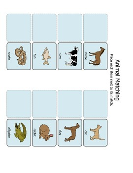 Animal Matching Visual Aid Animal matching