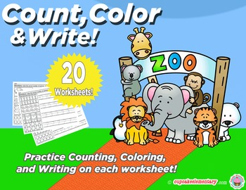 Animal Numbers - Count, Color, & Write! (Counting and Numb