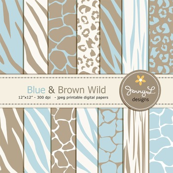 Animal Print: Blue and Brown Wild Safari Digital Papers