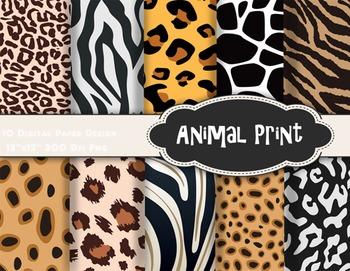 Animal Print Digital Paper Zebra Leopard Paper Animal Patt