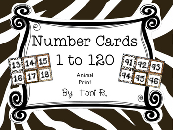 Animal Print Number Squares - For Number line or Charts