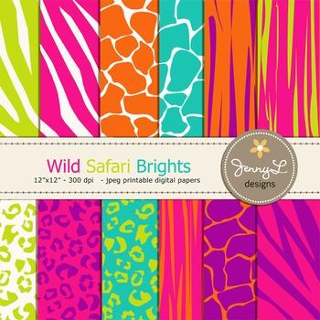 Animal Print: Wild Safari Digital Papers Bright Colors