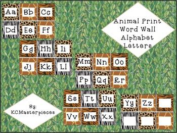 Animal Print Word Wall Alphabet Letters