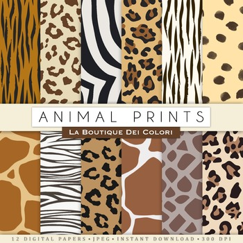 Animal Prints Digital Paper, scrapbook backgrounds.