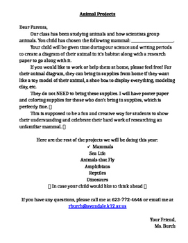 Animal Project Letter to Parents