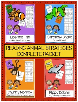 Animal Reading Strategies Practice Packets: BUNDLE (ALL 4 SETS)