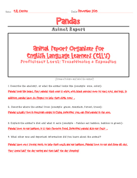 Animal Report Organizer for ELLs (Transitioning and Expanding)