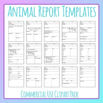Animal Report Templates Worksheet Layouts Clip Art Set for