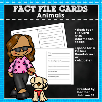 Animal Research Fact File Cards