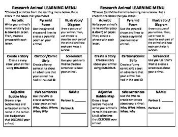 Animal Research Learning Menu