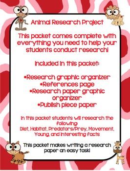 Animal Research Project Packet - Everything you'll need!!