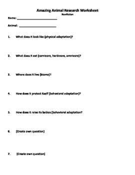 Animal Research Project Worksheet and Rubric