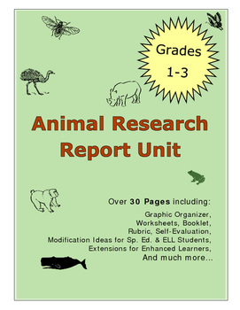 First Second Third Grade One Two Three Animal Research Rep