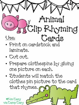 Animal Rhyming Clip Cards