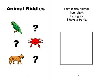 Animal Riddles Adapted Book, SPEECH THERAPY, Autism, Vocabulary