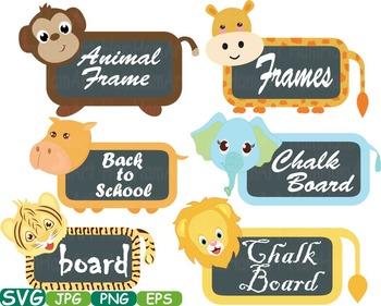 Animal Safari Chalk board Frames clip art Chalkboard schoo