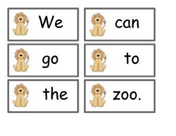 Animal Sight Word Sentence Scramble
