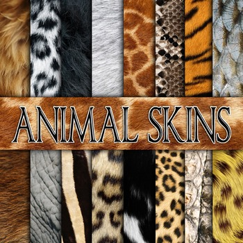 Animal Skin Textures - Digital Paper Pack - 16 Different P