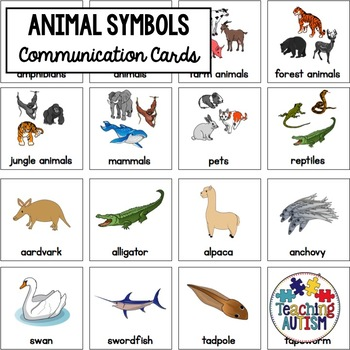Animal Symbol Support Cards - Autism