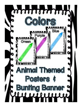 Animal Theme Colors Posters and Bunting Banner