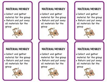 Animal Theme Table Group Job Cards