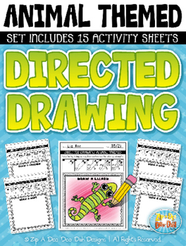 Animal Themed Directed Drawing Activity Pack — Includes 15