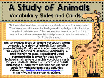 Animal Unit Vocabulary Words and Slides