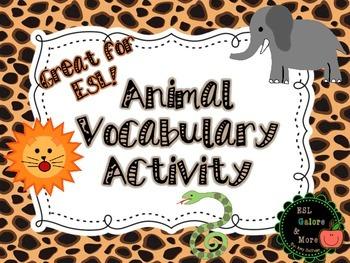 Animal Vocabulary Activity- No Prep