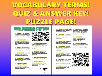 Animal Vocabulary Quiz (20 Terms with Definitions, Answer