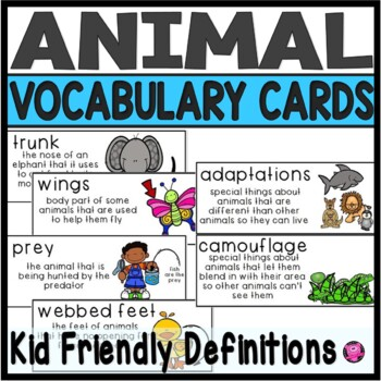 Animals Illustrated Vocabulary Cards for Science Centers a