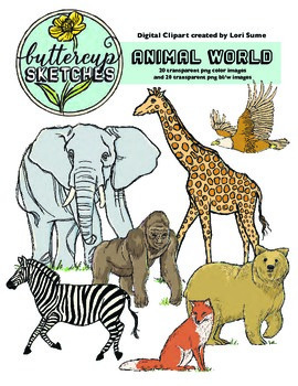 Animal Realistic Clip Art Collection: 20 realistic animals