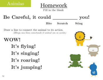 Animal actions Worksheet