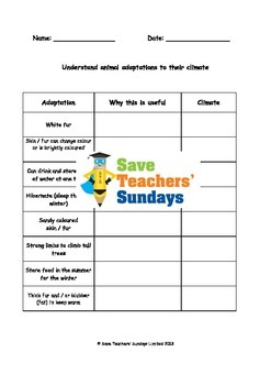 Animal adaptations in different climates Lesson plan and W