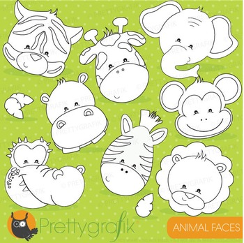 Animal faces stamps commercial use, vector graphics, image