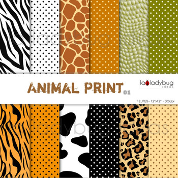 Animal print and dots patterns digital papers. Backgrounds.