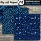 Animal prints Blue Digital paper - Tiger prints, crocodile