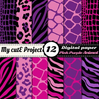 Animal prints Pink & Purple DIGITAL PAPER -Tiger crocodile