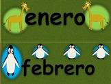 Animal themed Spanish Calendar Set.  Includes months, days