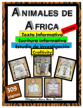 Animales de AFRICA African Animals Reading Writing  Creaft