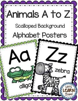 Alphabet Posters, Animals A to Z, Classroom Decor, (Scallo