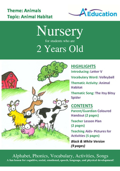 Animals - Animal Habitat : Letter V : Volleyball - Nursery