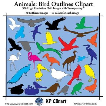 Animals Bird Outlines Clipart